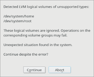 Old pop-up for LVM cache